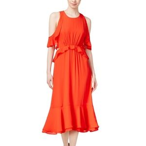 Maison Jules Ruffled Cold Shoulder Sheath Dress